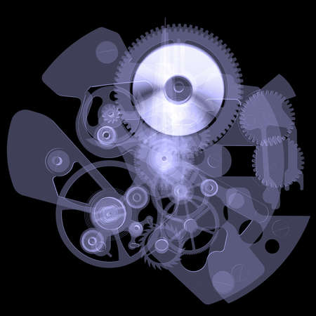 Clock mechanism  Isolated X-ray render on a black background