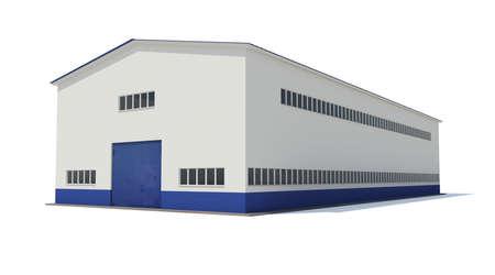 Industriegebäude Isolated render auf weißem Hintergrund