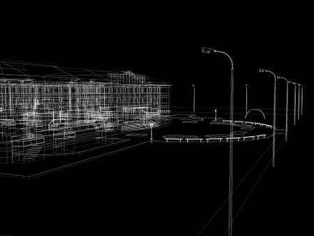 Abstract archticture  Wire-frame render on black background Stock Photo - 21441998