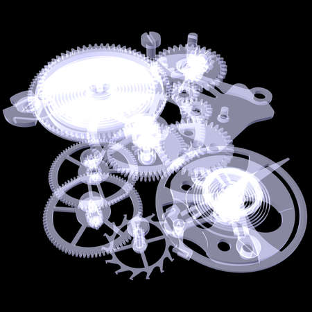 x ray image: Clock mechanism  Isolated X-ray render on a black background