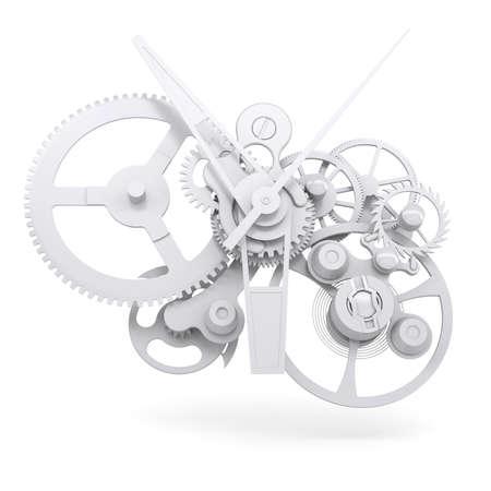 Concepto mecanismo del reloj render aislado en fondo blanco