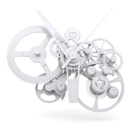 Konzept Uhrwerk Isolated render auf weißem Hintergrund Standard-Bild - 21442003