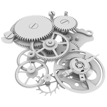 Clock mechanism  Isolated render on a white background photo