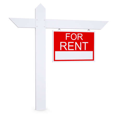 Real estate for rent sign  Isolated render on white background Stock Photo - 21442106