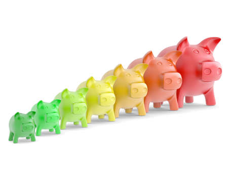 Colourful Piggy bank in a row  Isolated render on white background photo