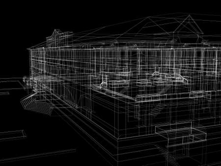 Abstract archticture  Wire-frame render on black background photo