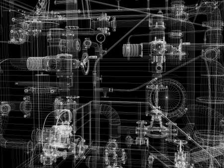 Industriële apparatuur Wire-frame van render geïsoleerd op een zwarte achtergrond