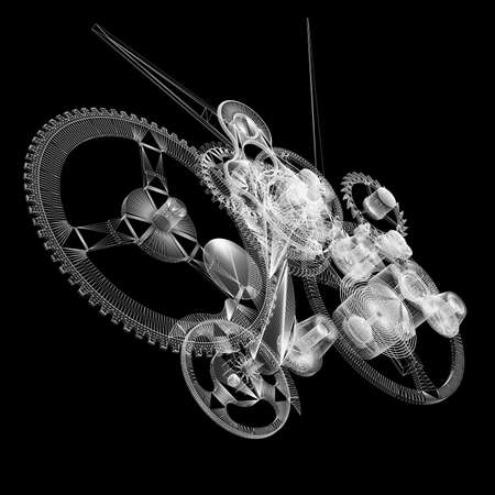 Clock mechanism  Isolated wire-frame render on a black background
