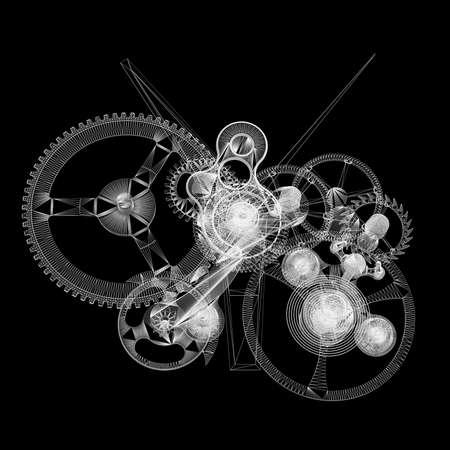 Klokmechanisme Geïsoleerde draad-kader geeft op een zwarte achtergrond Stockfoto