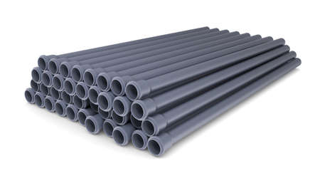 Grey PVC sewer pipes  Isolated render on white background photo