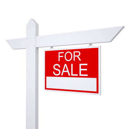 outdoor advertising construction: Real estate for sale sign  Isolated render on white background