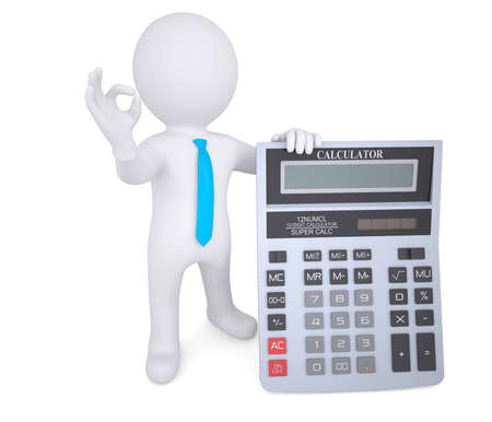 subtract: 3d white man holding a calculator  Isolated render on a white background