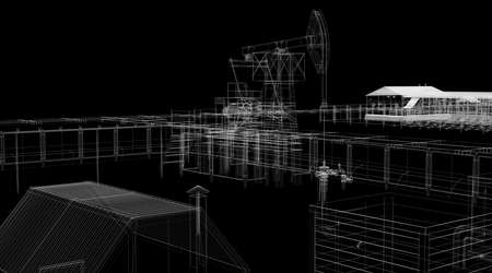 oilfield: Abstract industrial archticture  Wire-frame render on black background