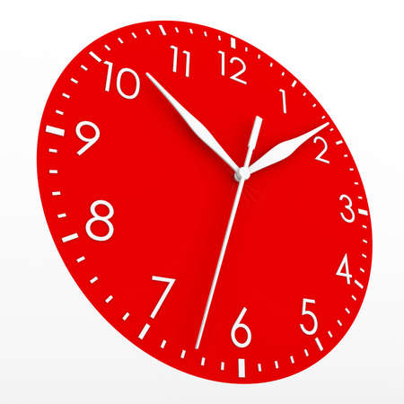 Red clock face  Isolated render on a white background Stockfoto