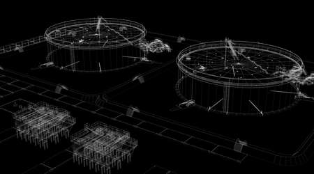Abstract industrial archticture  Wire-frame render on black background photo