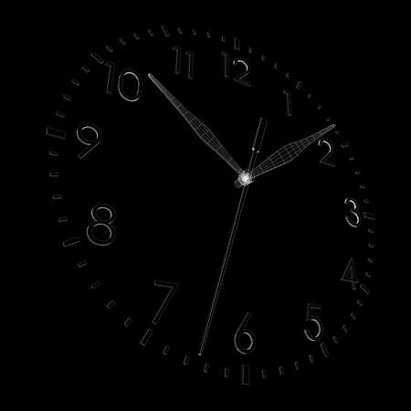 Clock face  Isolated wire-frame render on a black background