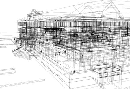 Abstract architecture  Wire-frame building on the white background