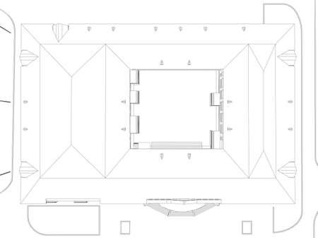 Abstracte architectuur Wire-frame van gebouw op de witte achtergrond Stock Illustratie