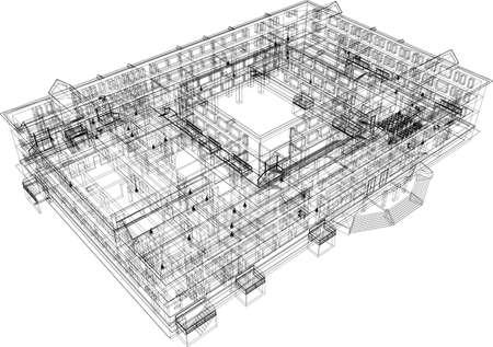 白い背景の上のワイヤー フレーム建築抽象的な