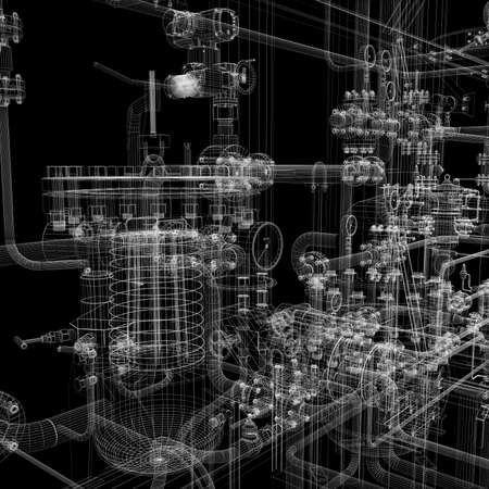 Industrieanlagen mit Wire-Frame-Darstellung auf einem schwarzen Hintergrund isoliert Standard-Bild - 21679329