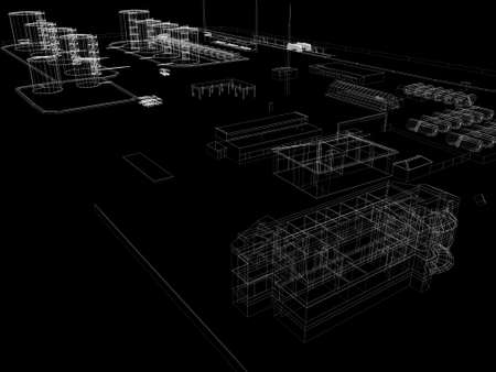 Industrial abstract architecture  Wire-frame isolated render on black background photo