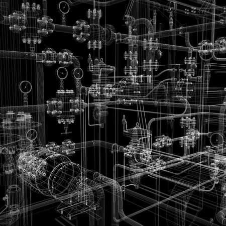 Industrial equipment  Wire-frame render isolated on a black background
