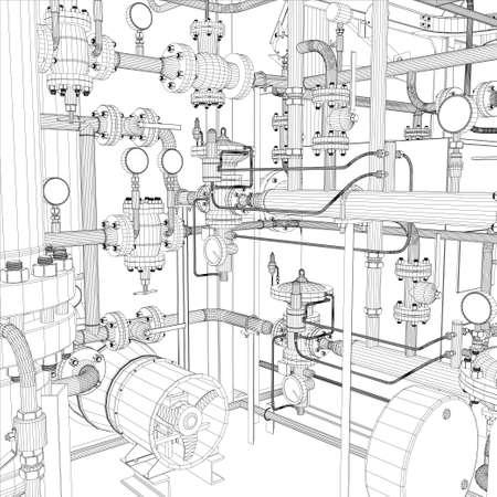 Wire-Frame Industrieanlagen Standard-Bild - 21679436