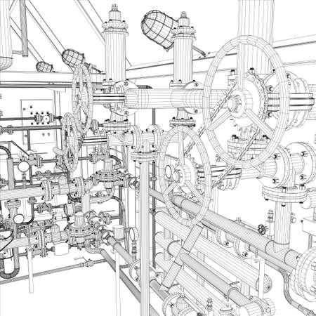 chemical engineering: Wire-frame industrial equipment