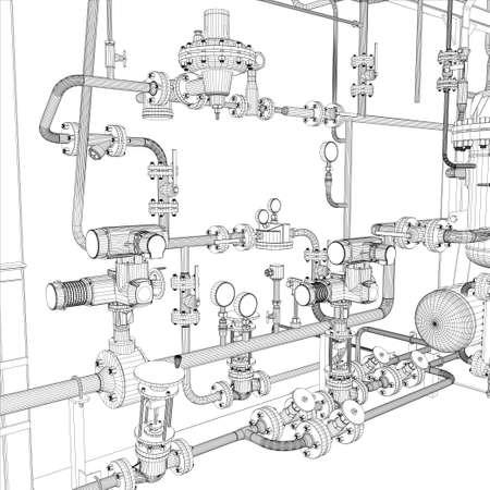 Wire-frame van industriële apparatuur Stock Illustratie