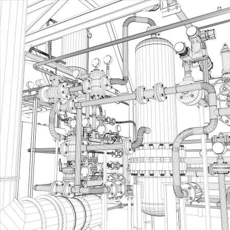 Wire-frame industrial equipment   Stock Illustratie