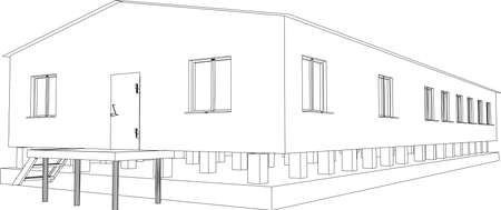 storage unit: Wire-frame industrial building on the white background  Illustration