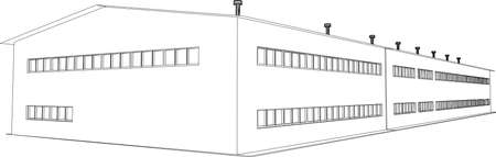 transportation facilities: Wire-frame industrial building on the white background