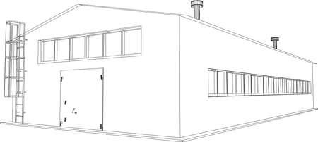 parking facilities: Alambre-marco edificio industrial en el fondo blanco Vectores