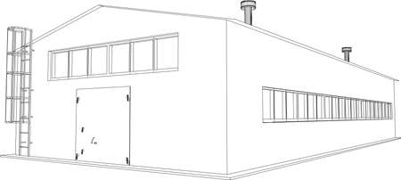 Wire-frame industrial building on the white background  Vector