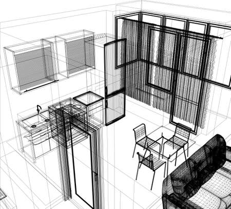 layout of the apartment  Wire-frame render on white background