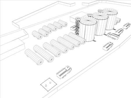 Wire-frame van industrieel gebouw op de witte achtergrond