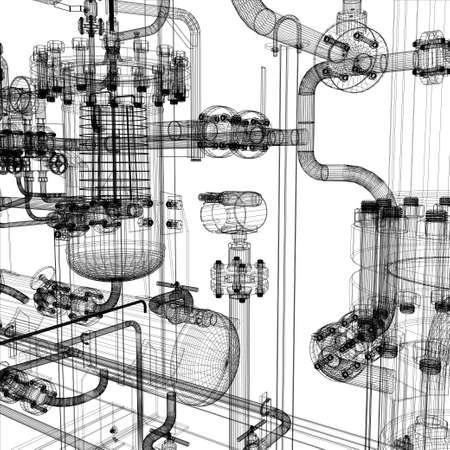 industrie: Wire-Frame Industrieanlagen auf dem weißen Hintergrund