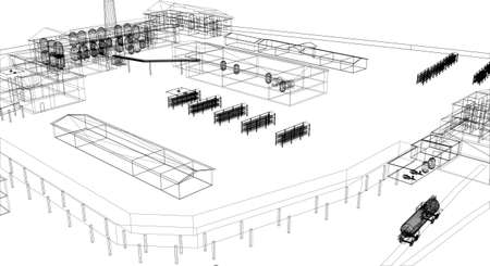 transportation facilities: Wire-frame industrial building on the white background  Illustration