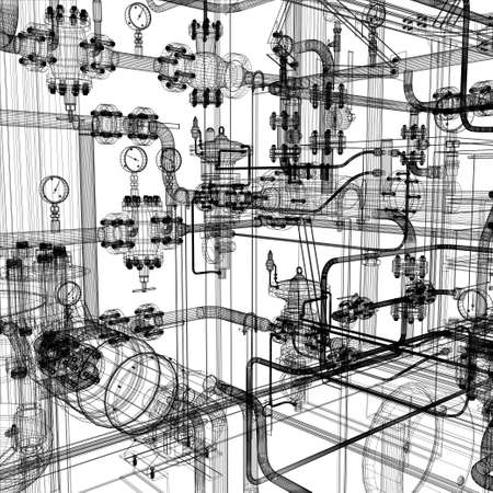 pipeline: Wire-frame industrial equipment on the white background   Illustration