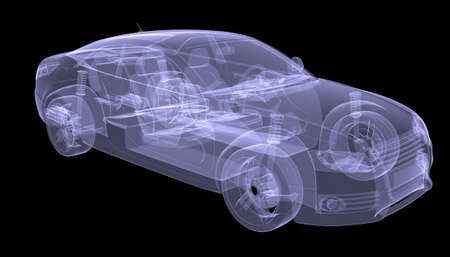 X-ray concept car  Isolated render on a black background