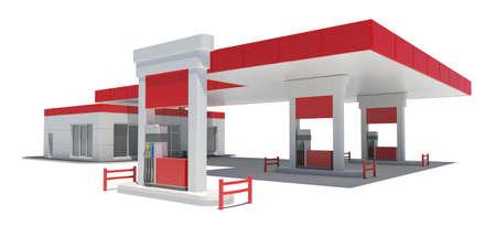 gasolinera: Gasolinera render aislado en un fondo blanco