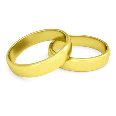 Two gold wedding rings  Isolated render on a white background photo