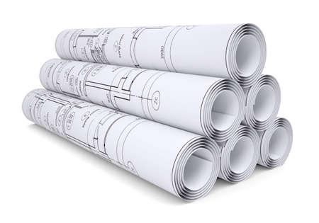 Scrolls von technischen Zeichnungen Isoliert machen auf einem weißen Hintergrund Standard-Bild - 22310235