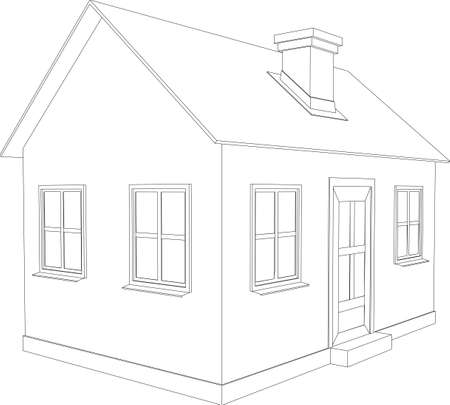Small house  Wire-frame building on the white background Stock Vector - 22310247