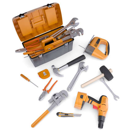 Toolbox and tools  Isolated render on a white background photo
