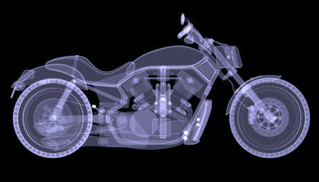 x ray image: Chopper  The X-ray render on a black background Stock Photo