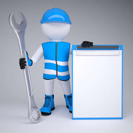 3d man in overalls with a wrench  Render on a gray background