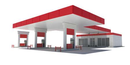 Gas Station Geïsoleerde render op een witte achtergrond