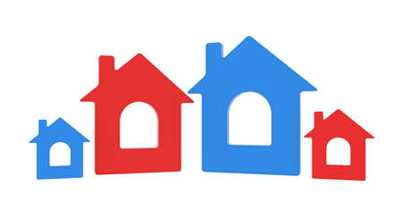 4 door: Four house icon  Isolated render on a white background Stock Photo