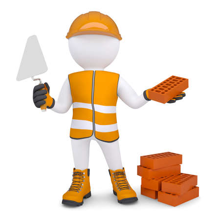 bricklayer: 3d man in the form of building with bricks  Isolated render on a white background